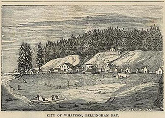 Pen and Ink Sketch of the City of Whatcom, Bellingham Bay